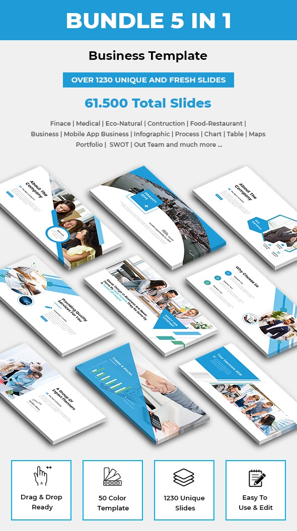 Bundle 5 In 1 PowerPoint Presentation Template 2019 - Business PowerPoint Templates
