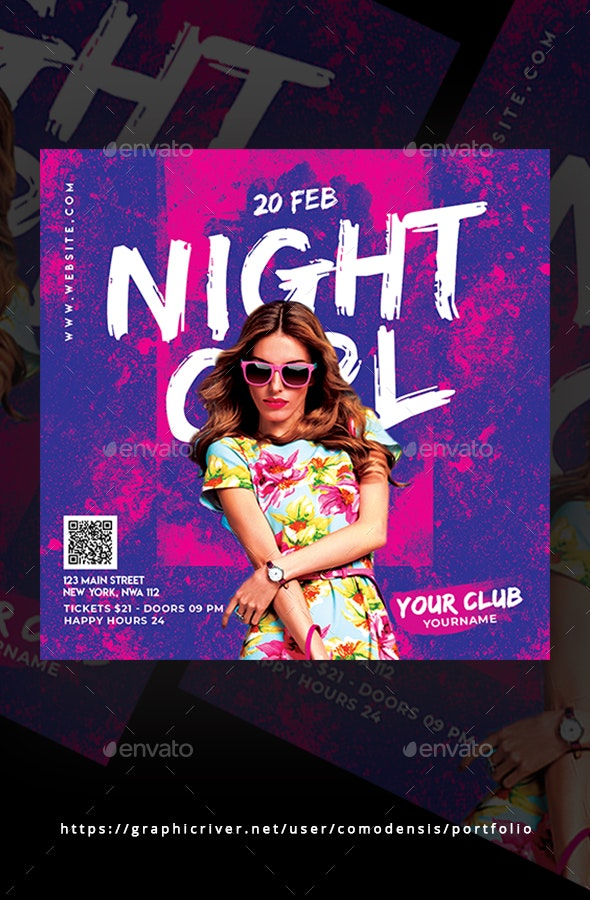 Night Girl Party Flyer - Clubs & Parties Events