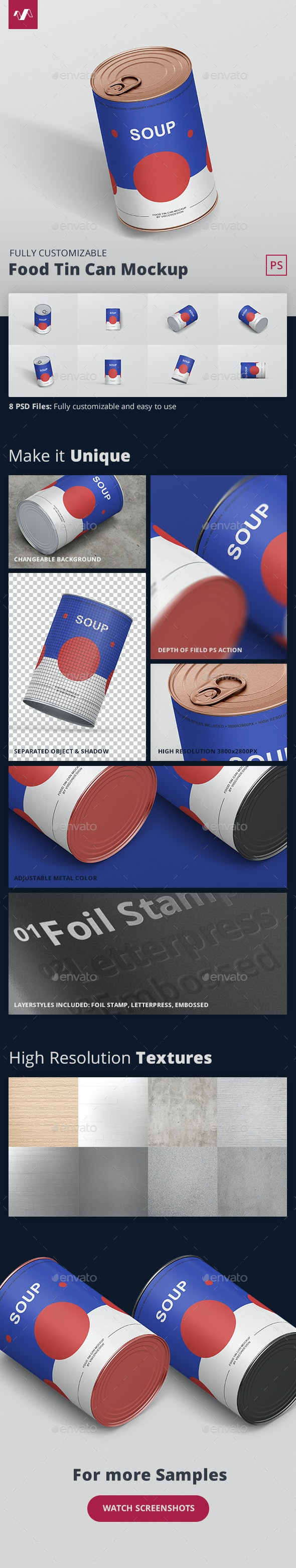 Food Tin Can Mockup - Food and Drink Packaging