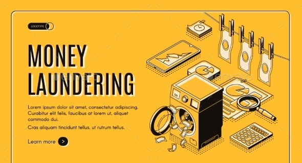 Money Laundering Isometric Vector Web Banner - Miscellaneous Conceptual