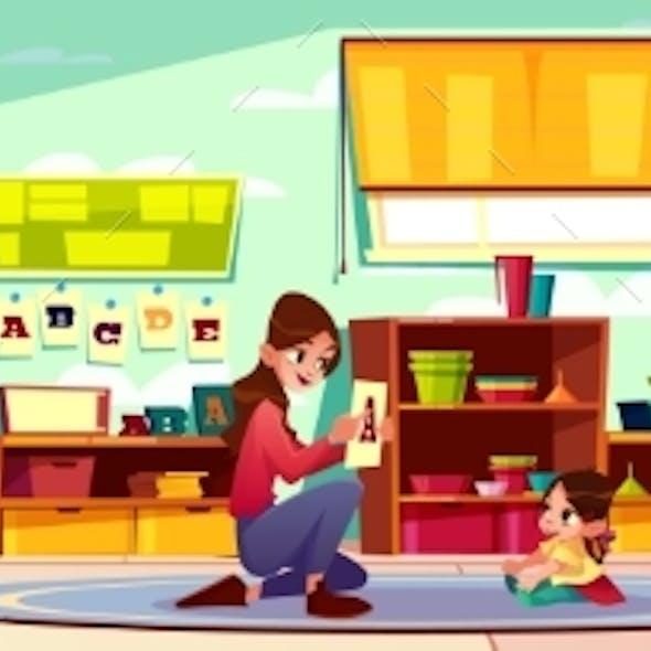 Child Studying Alphabet with Nurse Cartoon Vector