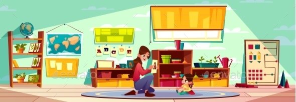 Child Studying Alphabet with Nurse Cartoon Vector - People Characters