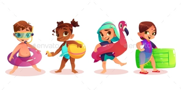 Children with Swimming Rings Cartoon Vector Set - People Characters