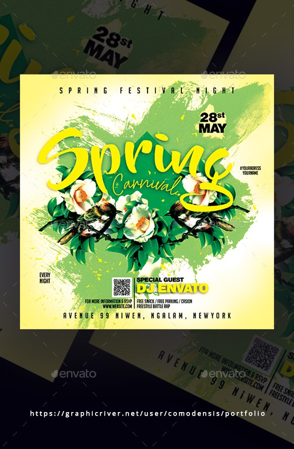Spring Carnival Flyer Template - Clubs & Parties Events
