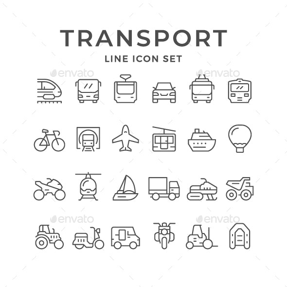 Set Line Icons of Transport - Man-made objects Objects