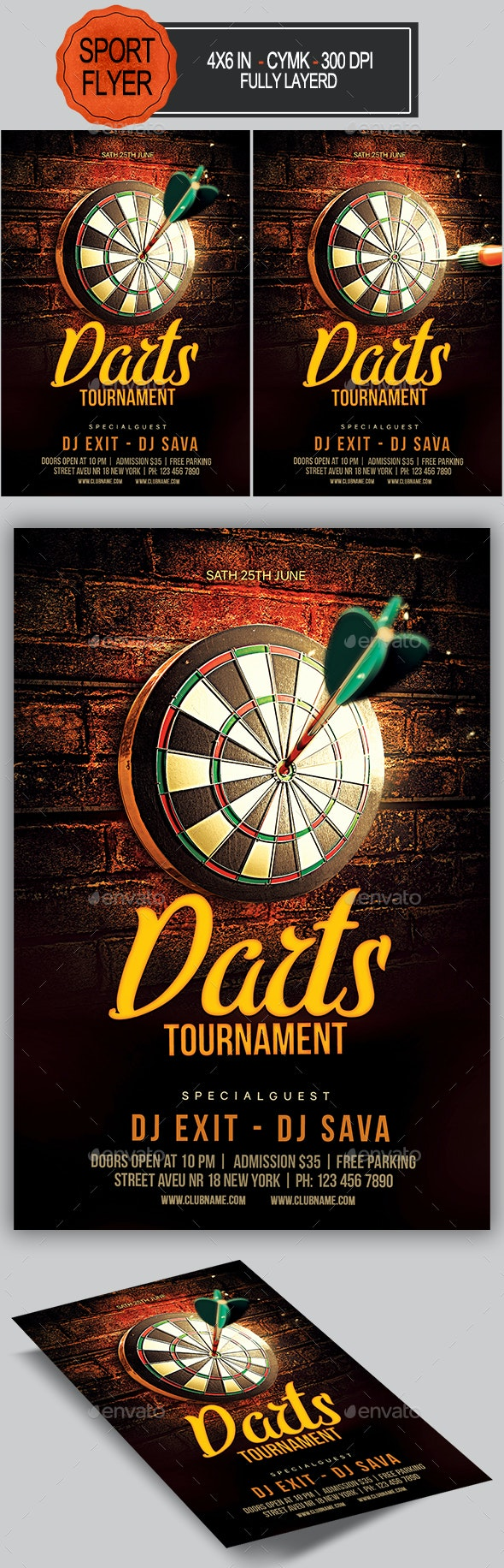 Darts Flyer - Sports Events