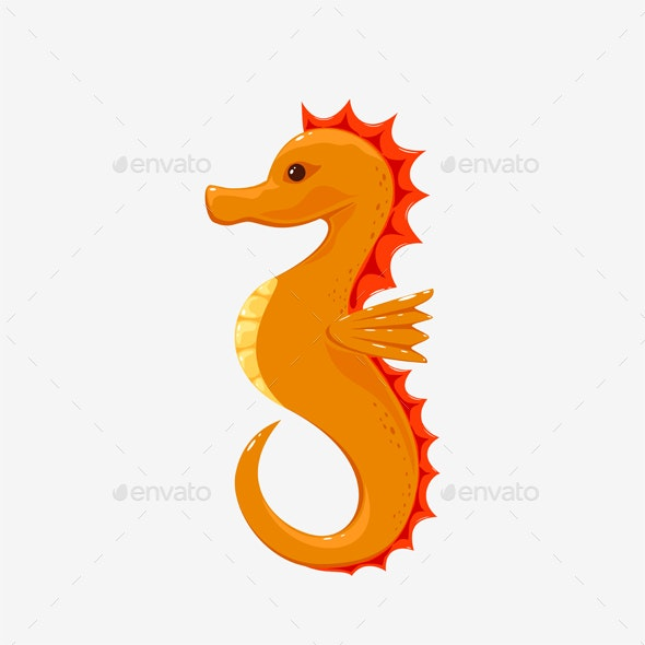 Seahorse on White Background - Animals Characters