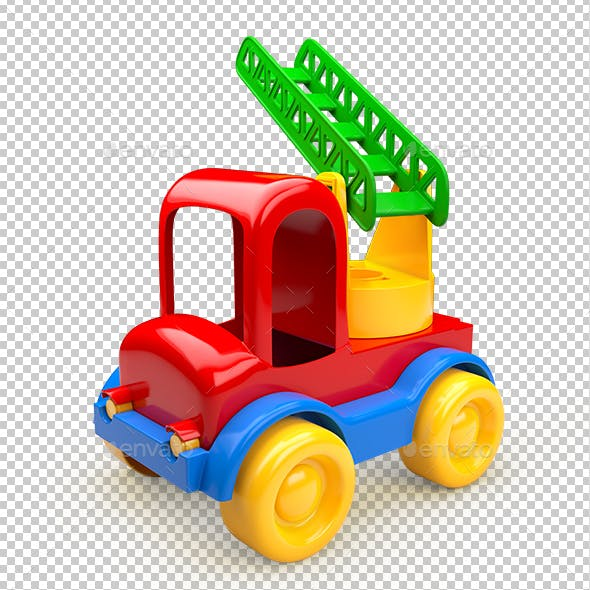 Car Toy with Stairs. 3D Illustration