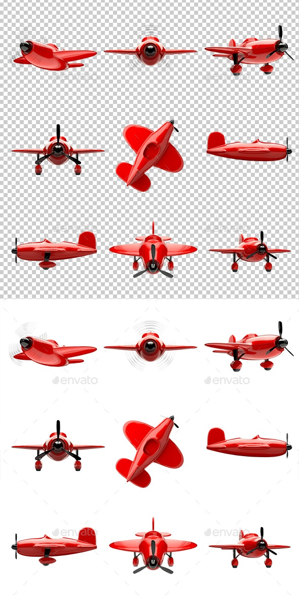 Airplane Set Isolated on White Background - Objects 3D Renders