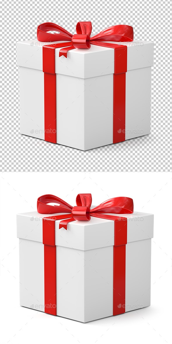 Gift Box Isolated on White Background - Objects 3D Renders