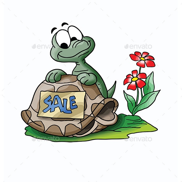 Cartoon Turtle Selling His House Vector Illustration - Commercial / Shopping Conceptual