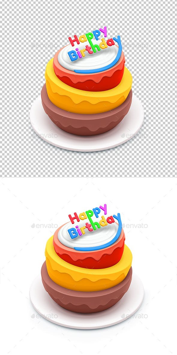 Birthday Cake Isolated On White Background 3d By Chillim