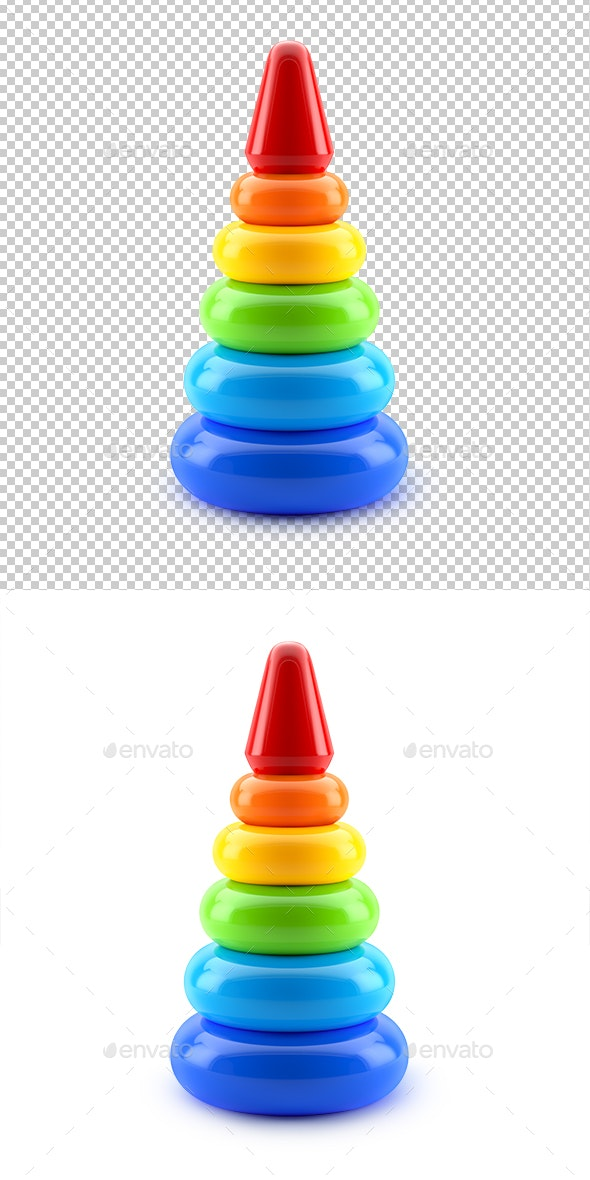 Pyramid Toy Isolated on White Background - Objects 3D Renders