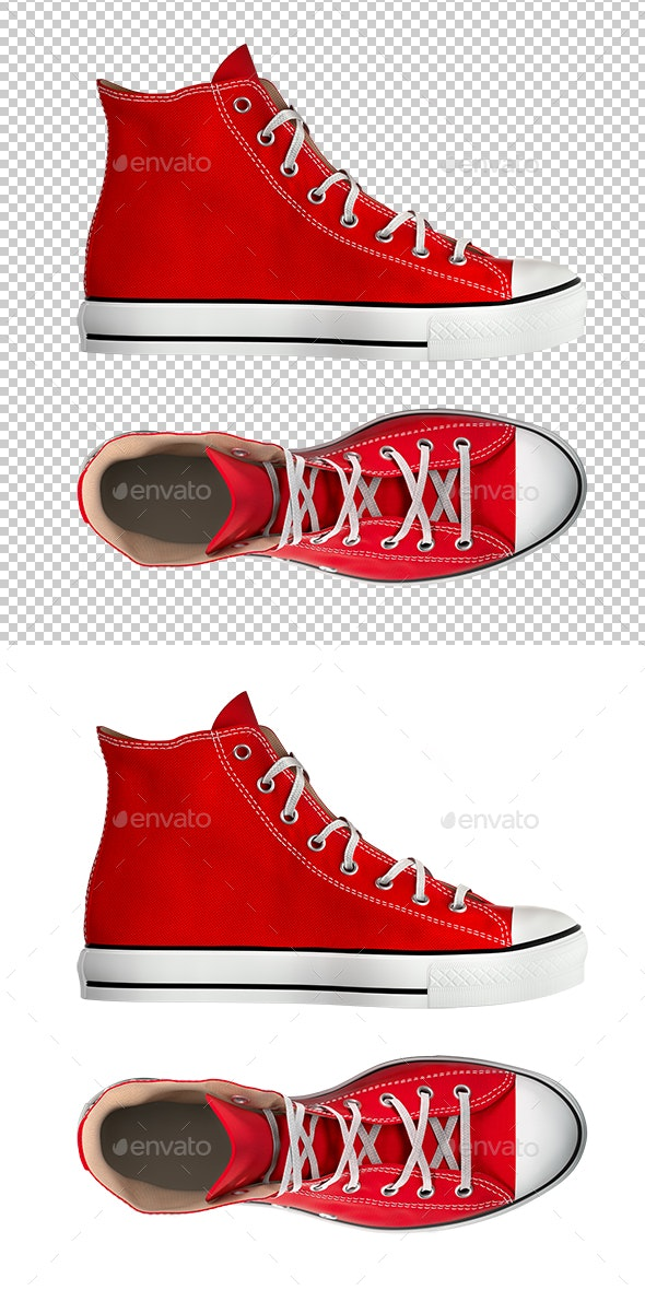 Red Sneakers Isolated on White Background - Miscellaneous 3D Renders