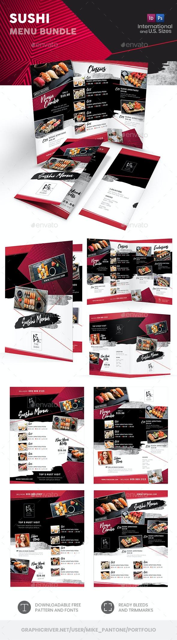 Sushi Menu Print Bundle 4 - Food Menus Print Templates