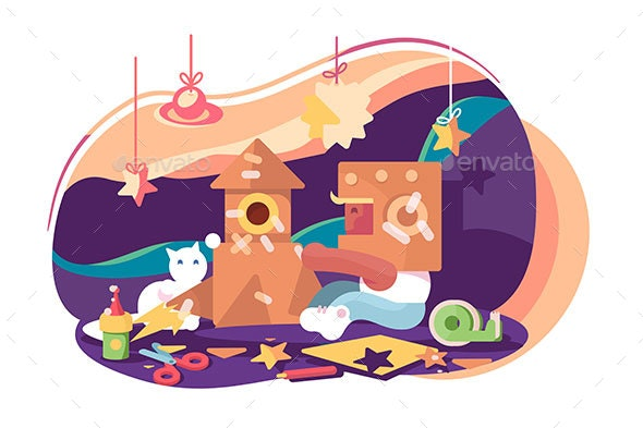 Young Astronaut Playing in Game Room - Animals Characters