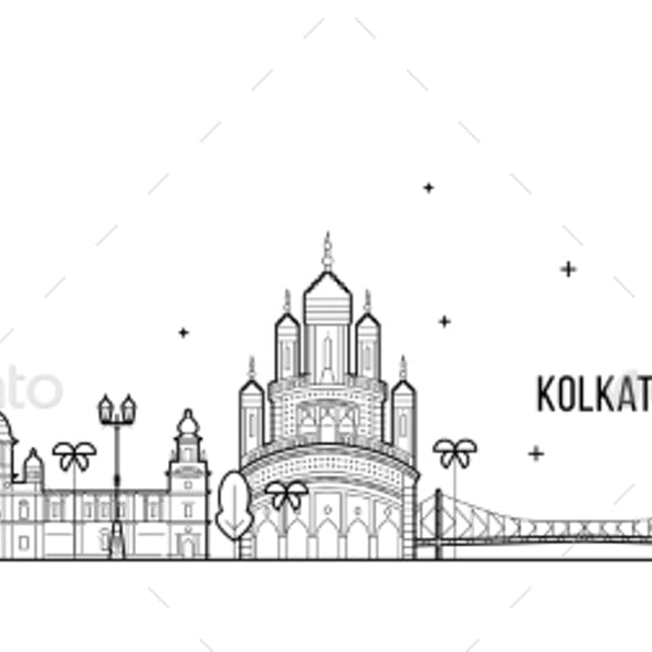 Kolkata Skyline West Bengal India City Line Vector