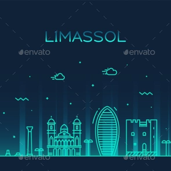 Limassol Skyline Cyprus Vector City Linear Style