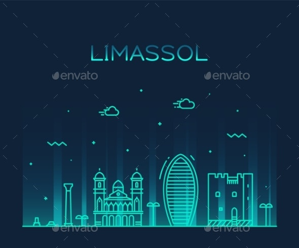 Limassol Skyline Cyprus Vector City Linear Style - Buildings Objects
