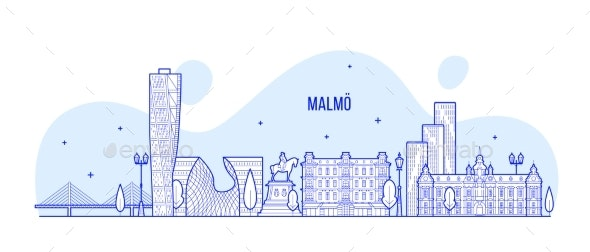 Malmo Skyline Sweden City Buildings Vector Linear - Buildings Objects
