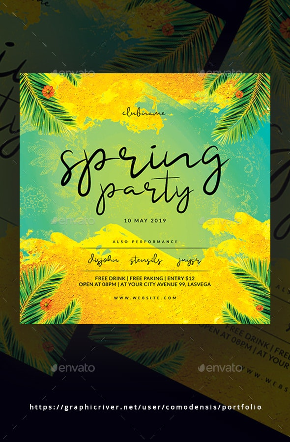 Spring Night Party Flyer - Clubs & Parties Events