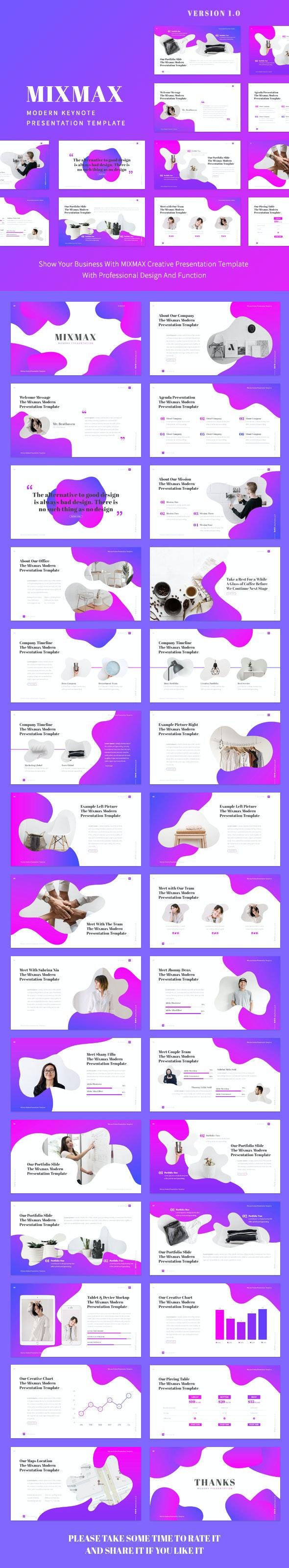 Mixmax - Modern Keynote Presentation Template - Creative Keynote Templates