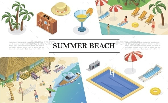 Isometric Summer Vacation Concept - Seasons/Holidays Conceptual