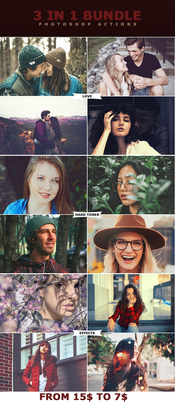 3 IN 1 Bundle Photoshop Actions - Photo Effects Actions