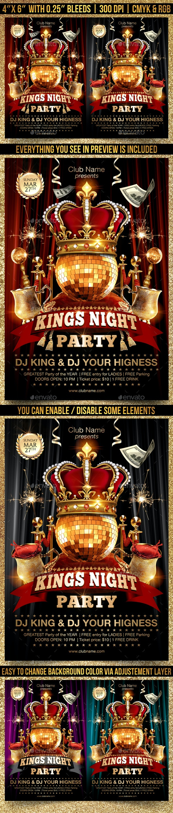 Kings Night Flyer Template - Clubs & Parties Events