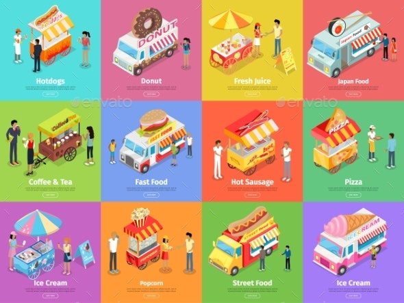 Street Food Stores Isometric Vector Banners - Food Objects