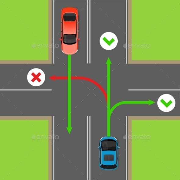 Turn Rules on Four-Way Intersection Vector Diagram - Man-made Objects Objects