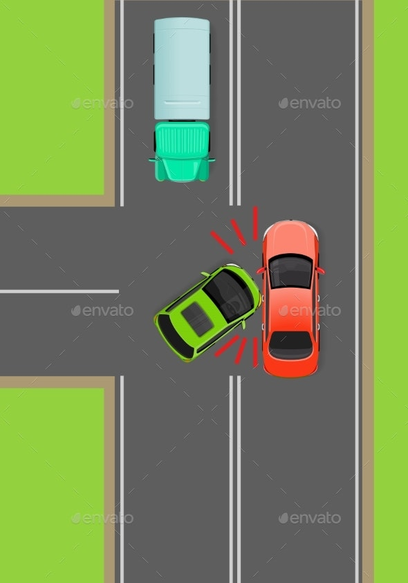 Clash of Cars on T-Junction Flat Vector Diagram - Man-made Objects Objects