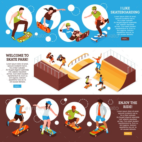 Skateboard Horizontal Banners Set - Sports/Activity Conceptual