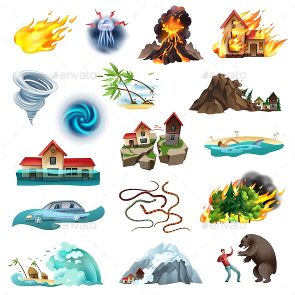 Natural Disasters Icons Set - Animals Characters
