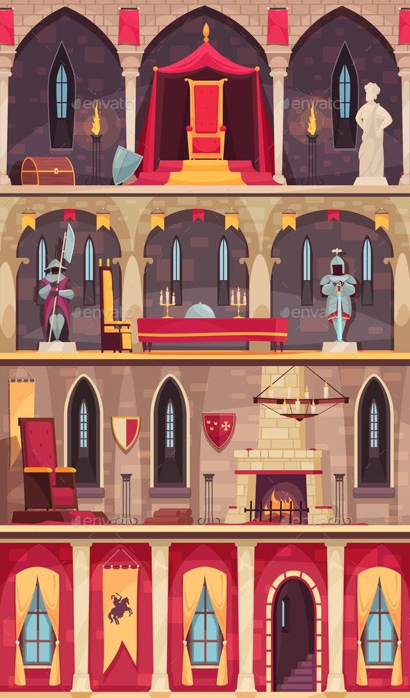 Castle Cartoon Banners - Buildings Objects