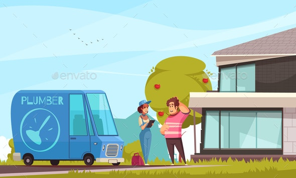 Plumber Arriving Outdoor Illustration - People Characters