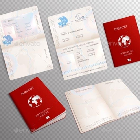 Biometric Passport Mockup Transparent Set