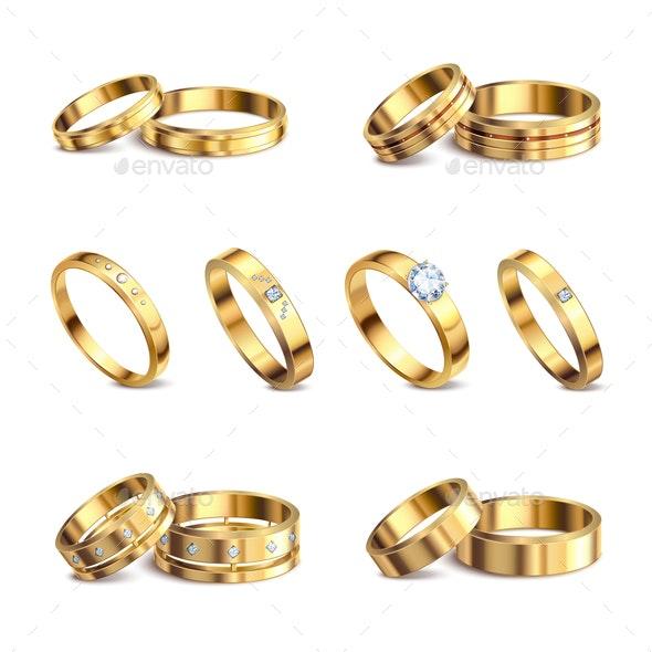 Wedding Rings Realistic Set - Backgrounds Decorative