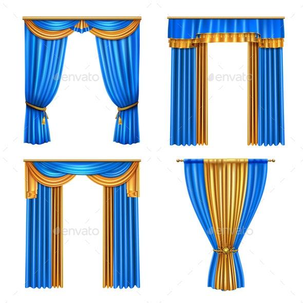 Drapes Curtains Realistic Set - Miscellaneous Vectors