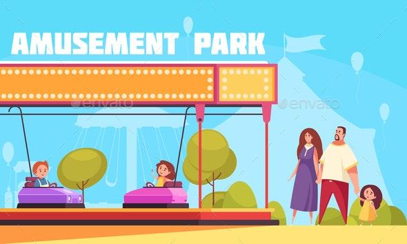 Amusement Park Horizontal Illustration - Seasons/Holidays Conceptual