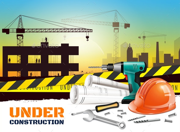 Realistic Construction Background - Buildings Objects