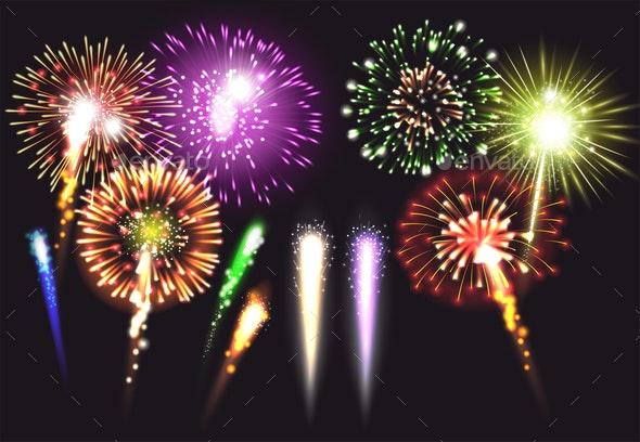 Realistic Fireworks Icon Set - Backgrounds Decorative