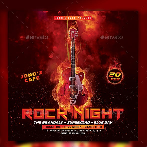 Rock Music Event Party Flyer