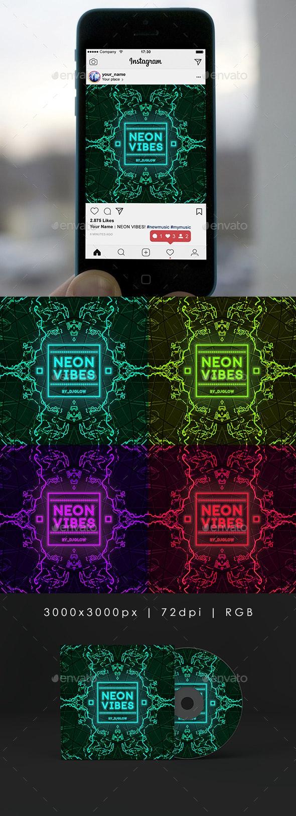 Neon Vibes Music Cover Album Artwork Template - Miscellaneous Social Media