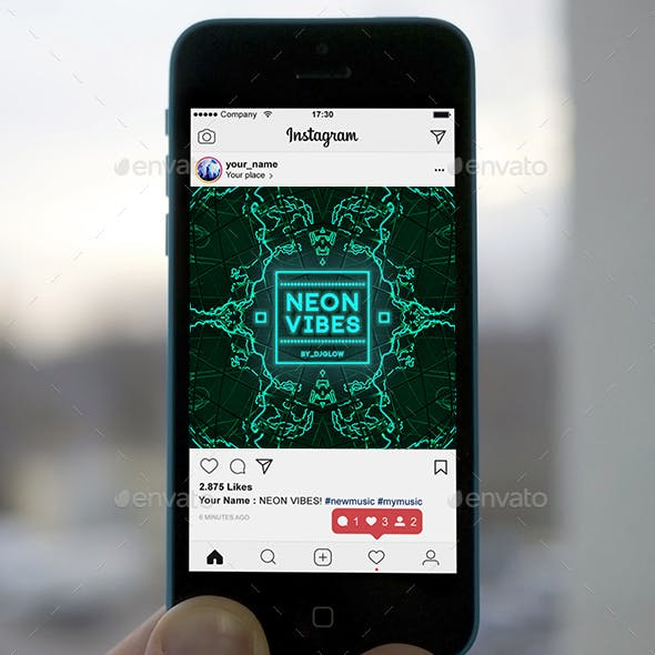 Neon Vibes Music Cover Album Artwork Template