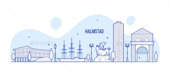 Halmstad Skyline Halland Swedish City Vector Line - Buildings Objects