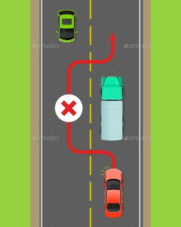 Lorry Overtaking Ban Flat Vector Diagram - Man-made Objects Objects