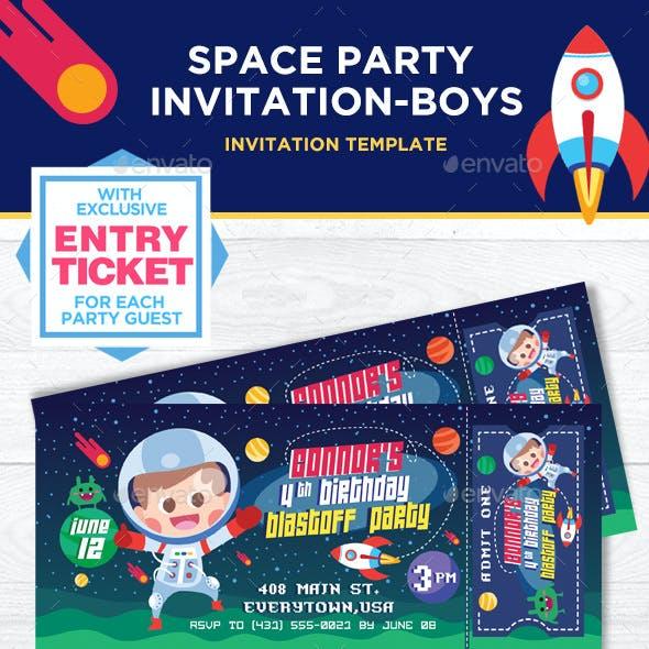 Space Party Boys Birthday Invitation