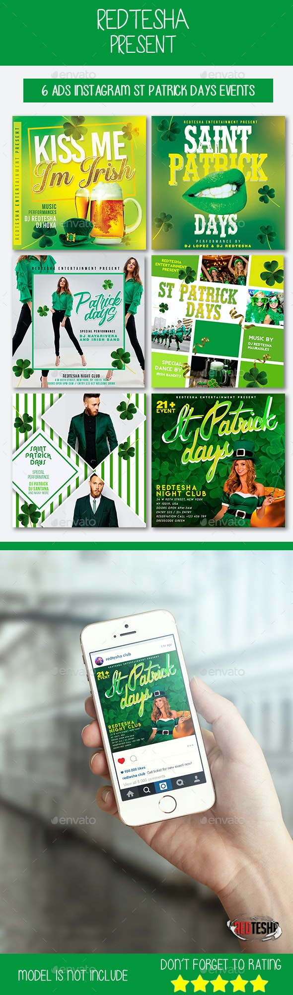 6 Instagram Saint Patrick Days Events - Social Media Web Elements