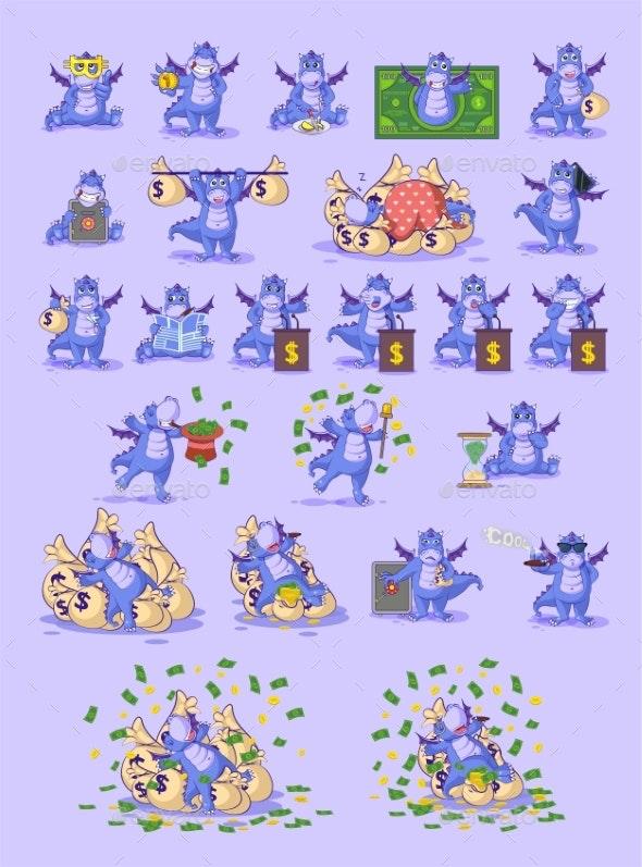 Set Kit Collection Dragon Sticker Emoticon - Business Conceptual